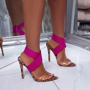 Shoes - Women High Heels Sandals Leopard Printed